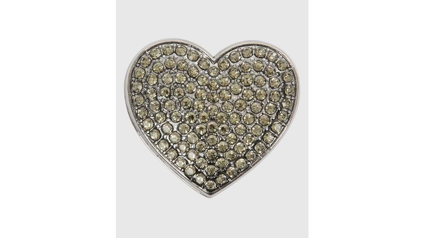Herz-Brosche in Grau