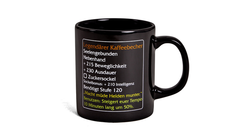 Legendärer Kaffeebecher - MMO Item Fan Tasse Level 120