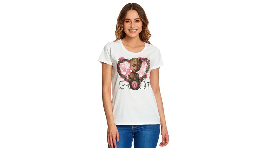 Guardians of the Galaxy - Baby Groot Heart T-Shirt Damen weiß