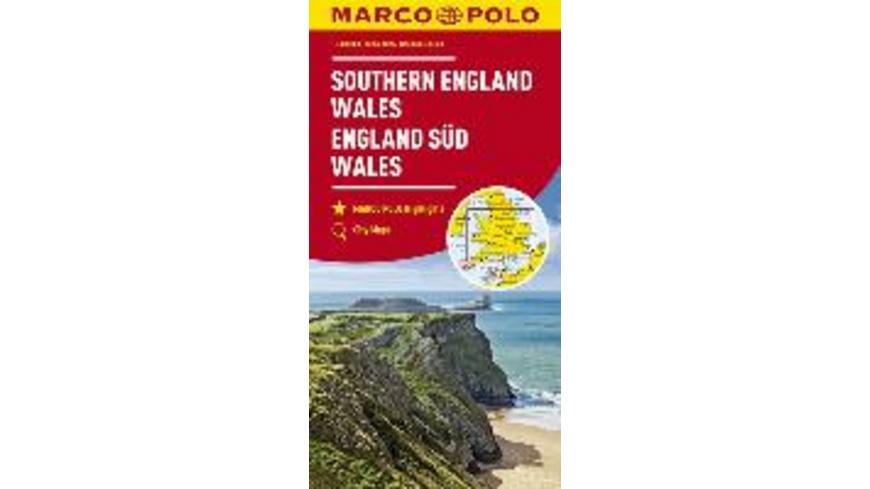 MARCO POLO Karte Großbritannien England Süd, Wales
