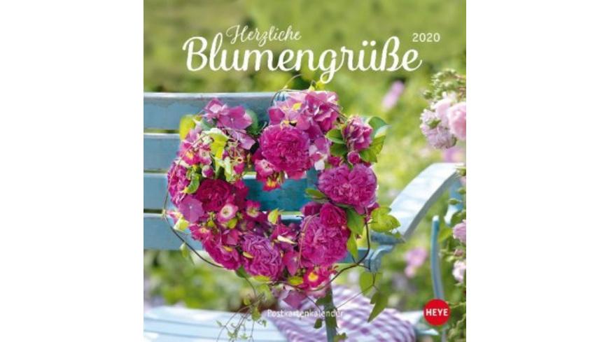 Herzliche Blumengrüße 2020. Postkartenkalender