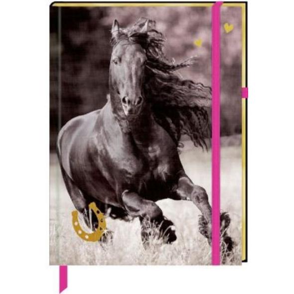 Notizbuch mit Stoffeinband - I Love Horses - Meine