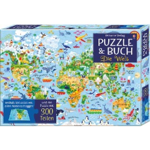 Puzzle und Buch: Die Welt
