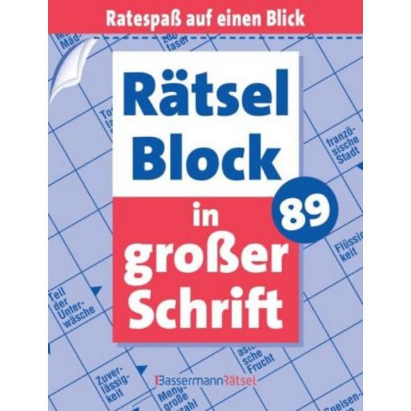 Rätselblock in großer Schrift. Bd.89
