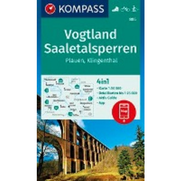 KOMPASS Wanderkarte Vogtland, Saaletalsperren, Pla
