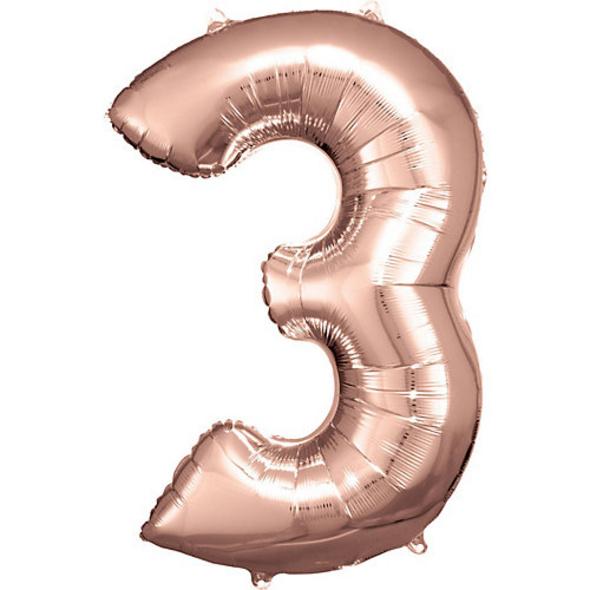 Super Shape Folienballon Rosé Gold, Zahlenballon 3 , 53 x 88 cm