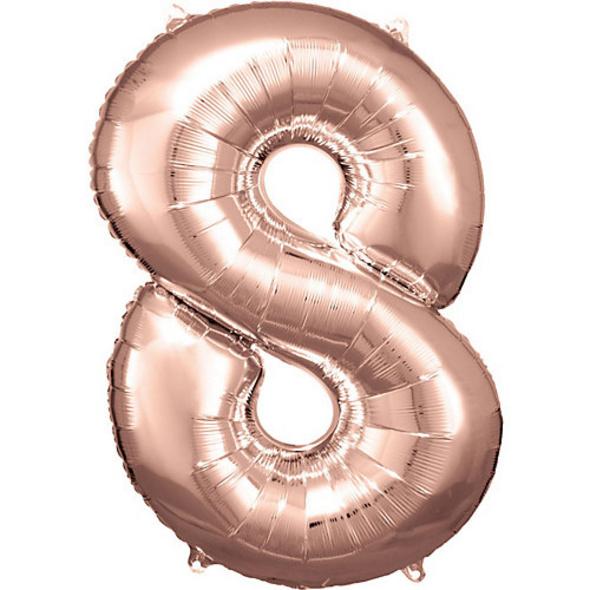 Super Shape Folienballon Rosé Gold, Zahlenballon 8, 53 x 83 cm