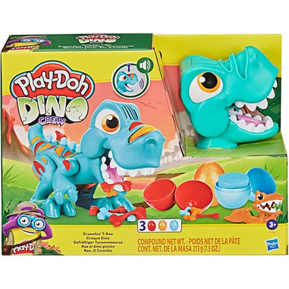 Play-Doh Dino Crew Gefräßiger Tyrannosaurus, Spielzeug für Kinder ab 3 Jahren mit lustigen Dinogeräuschen und 3 Play-Doh Eiern à 70 g