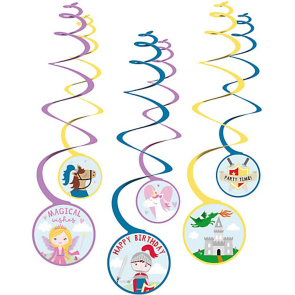 6 Deko-Spiralen Princess & Knight Folie / Papier 80 cm