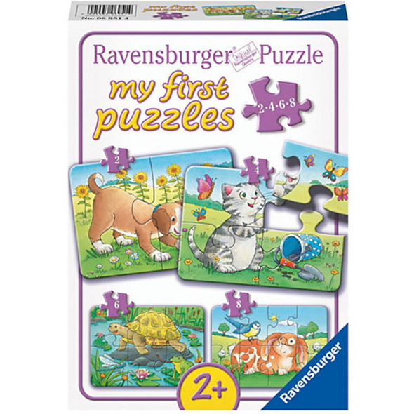 4-tlg. Puzzle Set, 2,4,6+8 Teile, 21x15 cmNiedliche Haustiere