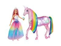 Barbie Dreamtopia Magisches Zauberlicht Einhorn mit Puppe, Licht & Geräuschen