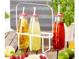 3 Trinkflaschen im Metallträger