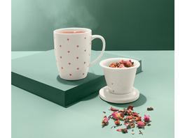 Teetasse mit Sieb und Deckel