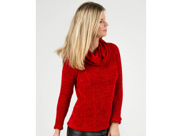 Chenille-Sweat mit Rolli in Rot