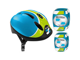 Helm + Ellenbogen- & Knieschutz - Skids Control, blau