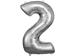 Super Shape Folienballon Silber, Zahlenballon 2 , 50 x 88 cm