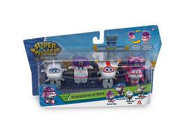 Super Wings Transform-a-Bots 4er Set: Rescue Dizzy, Zoey, Astra, Astro